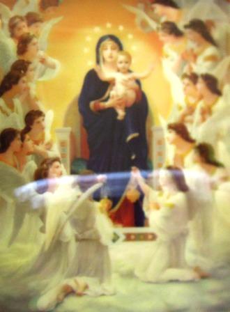 立体圣相-圣母抱耶稣/天使